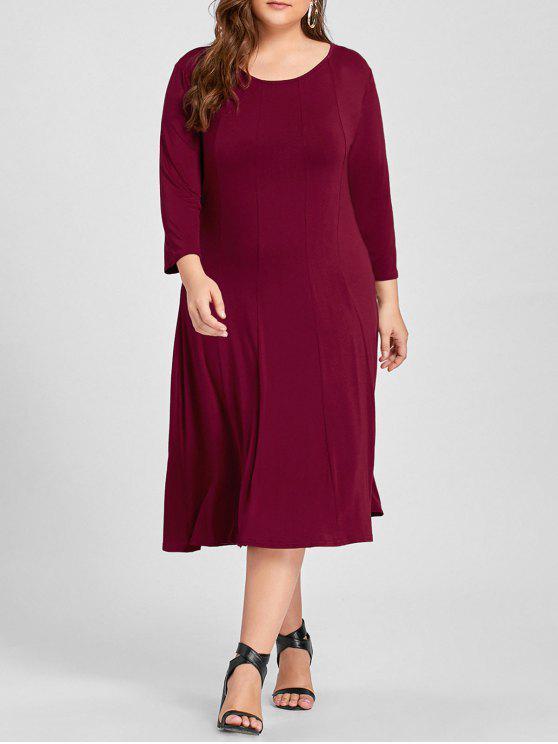 فستان ذو مقاس كبير - نبيذ أحمر 3XL