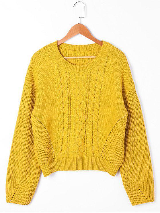 Maglione a maglia del cavo a coste della spalla - Giallo L