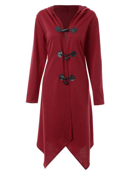 4e17a6278ebef 2018 Plus Size Asymmetric Long Duffle Cloak Coat In WINE RED XL