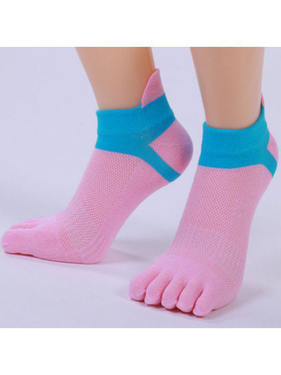 خمسة أصابع اصبع القدم مزيج القطن الجوارب الكاحل - زهري