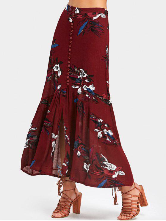 Jupe Longue Imprimée Florale à Taille Haute - Rouge Foncé M