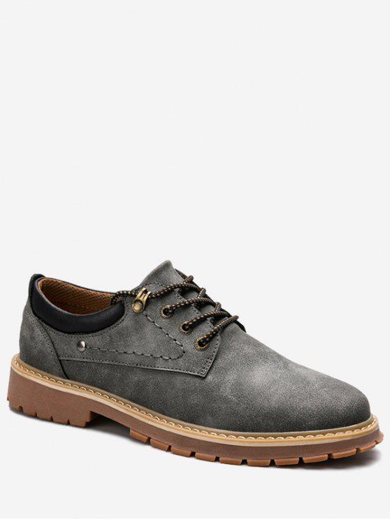 حذاء كاجوال بأربطة للرجال - رمادي 43