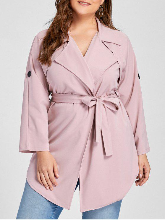 latest Plus Size Lapel Wrap Trench Coat - PINK 2XL