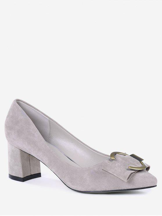 Metal Buckle Strap Pointed Toe Pumps - Rosa Camurça 36