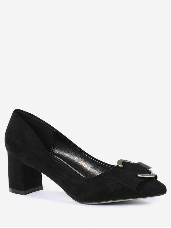 Metal Buckle Strap Pointed Toe Pumps - Preto 39