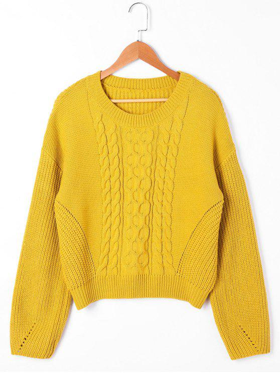 sale Drop Shoulder Ribbed Cable Knit Sweater - YELLOW M
