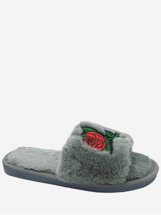 Flor de bordado de piel sintética abiertas zapatillas dedo del pie - Gris Tamaño (36-37)