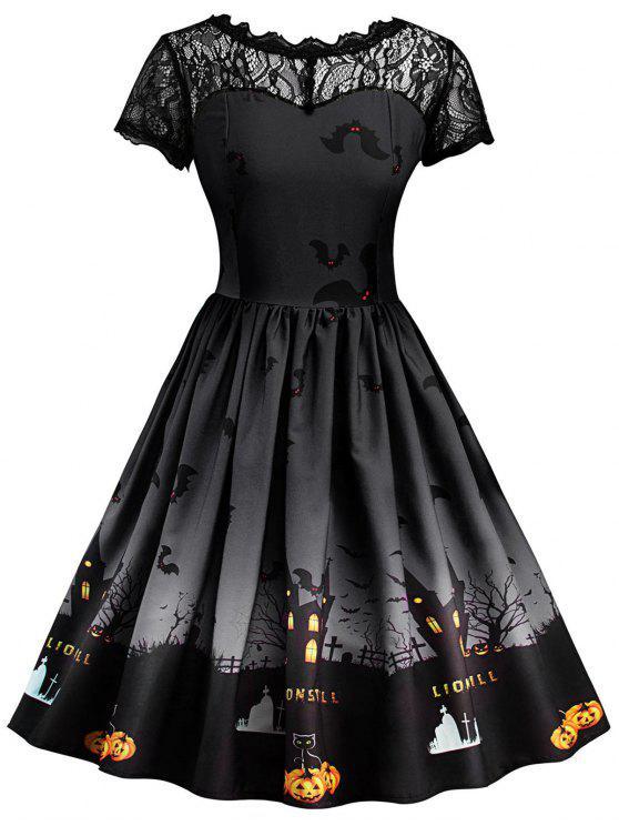 halloween vintage kleid mit spitze einsatz dunkel grau printkleider s zaful. Black Bedroom Furniture Sets. Home Design Ideas