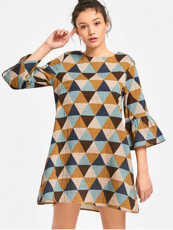 lady Flare Sleeve Geometric Print Trapeze Dress - MULTI M
