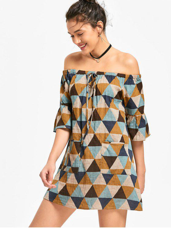 فستان مصغر طباعة هندسية بلا اكتاف - متعدد XL