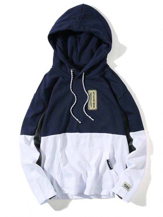 Hooded Color Block Embroidered Appliques Pullover Hoodie - Azul Escuro M