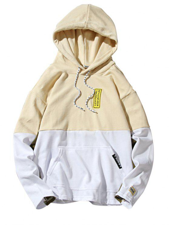 Hooded Color Block Embroidered Appliques Pullover Hoodie - Amarelo Claro L