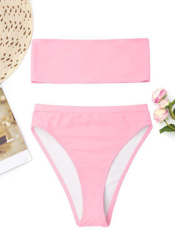 Bralette High Cut Bandeau Bikini   Pink L by Zaful