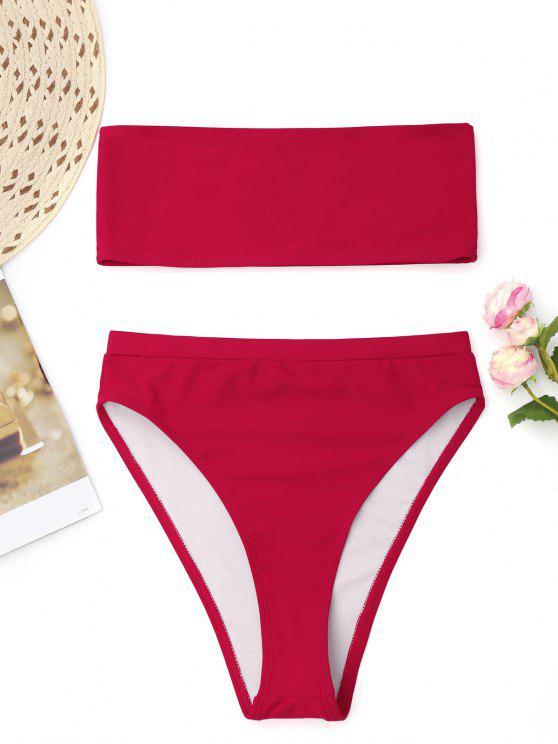 fancy Bralette High Cut Bandeau Bikini - RED L