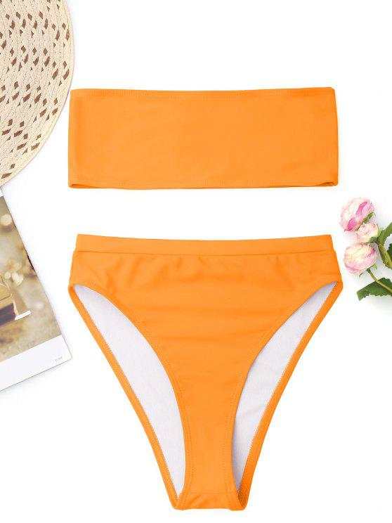 Bralette High Cut Bandeau Bikini - Naranja L