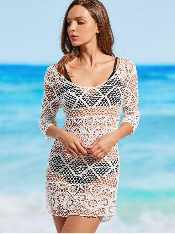 online Crochet Scoop Cover Up Dress - WHITE ONE SIZE