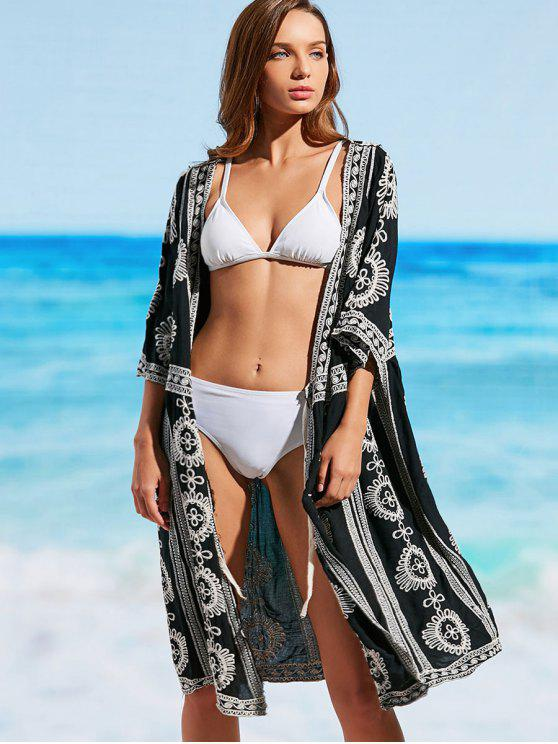 shop Longline Embroidered Beach Kimono - BLACK ONE SIZE