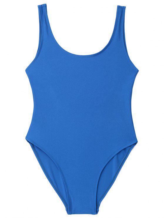 Bañador de una pieza con espalda baja brillante - Azul M