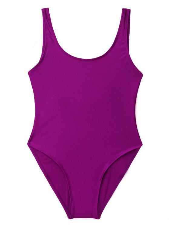 Bañador de una pieza con espalda baja brillante - Púrpura S
