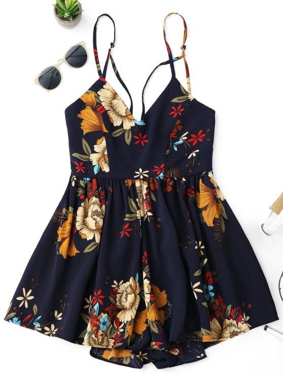 fashion Floral Criss Cross Romper - FLORAL XL