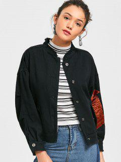 Arrow Embroidered Denim Jacket - Black