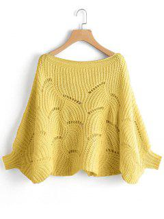 Batwing Oversized Cut Out Sweater - Yellow S