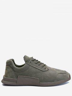 Round Toe Tie Up Sneakers - Gray 41
