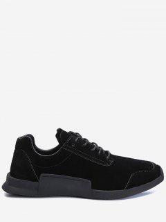 Round Toe Tie Up Sneakers - Black 40