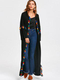 Open Front Colorful Tassels Duster Coat - Black Xl