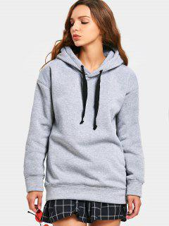 Side Zipper Drawstring Longline Hoodie - Gray Xl
