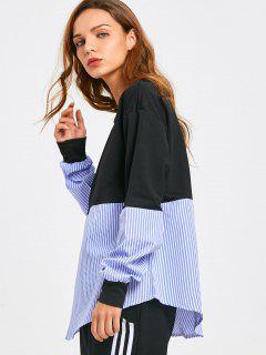 Loose Contrasting Stripes Sweatshirt - Stripe M