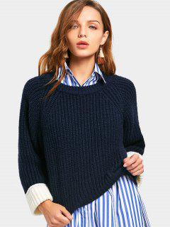 Back Slit Contrast Sweater - Purplish Blue