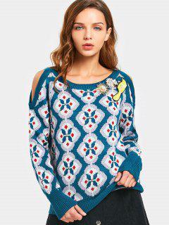 Brooch Embellished Cold Shoulder Graphic Sweater - Multi M