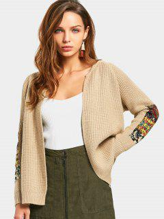 Open Front Patched Cardigan - Khaki