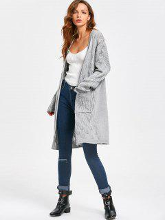 Diamond Sheer Open Front Cardigan - Light Gray