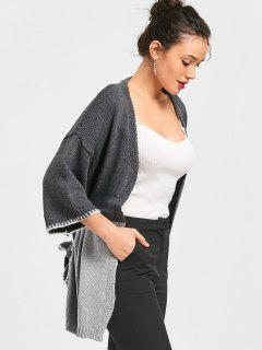 Two Tone Open Cardigan - Gray