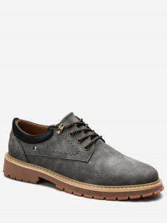 Stitching Lace Up Low Top Casual Shoes - Gray 42