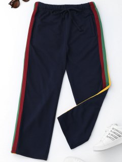 Drawstring Striped Running Pants - Purplish Blue L