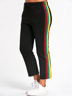 Drawstring Striped Running Pants - Black L