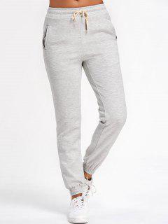 Running Drawstring Jogger Pants - Light Gray L