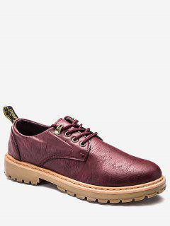 Faux Leather Lace Up Low Top Casual Shoes - Wine Red 40