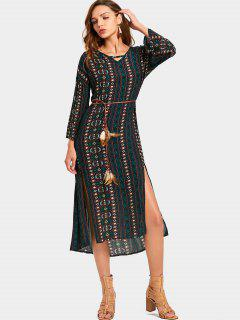 Cut Out Tribal Print Slit Belted Dress - Multi M