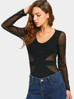 U Neck Mesh Panel Sheer Tee - Black L