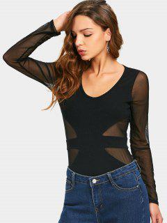 Camiseta Transparente Con Panel De Malla U Neck - Negro L
