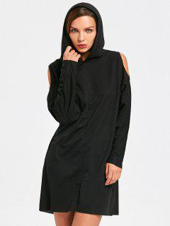 Long Sleeve Hooded Cold Shoulder Mini Dress - Black Xl