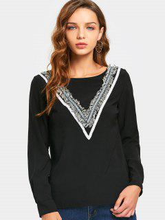 Round Neck Embellished Blouse - Black L