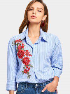 Flower Patched Striped Longline Shirt - Light Blue S