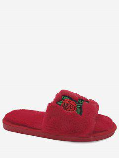 Faux Fur Embroidery Flower Open Toe Slippers - Red Size(40-41)