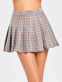 High Waist Mini Checked Flare Skirt - Checked L