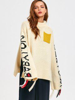 Letter Oversized Mock Neck Sweater - Off-white